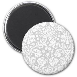 Silver gray damask pattern 6 cm round magnet