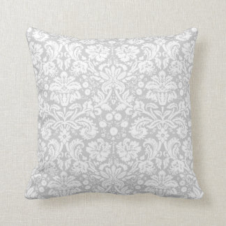 Silver gray damask pattern throw pillows
