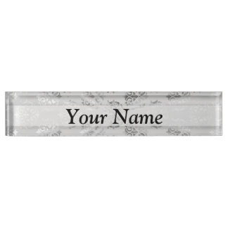 Silver gray damask pattern nameplate