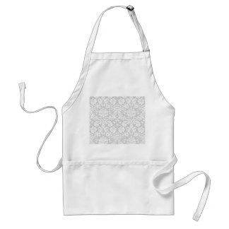 Silver gray damask pattern standard apron