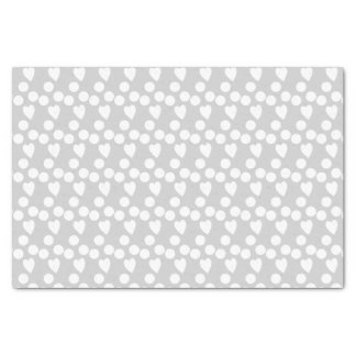 Silver gray dots & hearts tissue paper