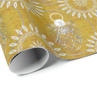Silver Gray Filigree Christmas Angel of Peace Wrapping Paper