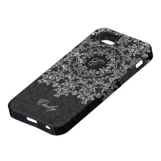 Silver Gray Floral Lace Black Damasks Monogramed iPhone 5/5S Covers