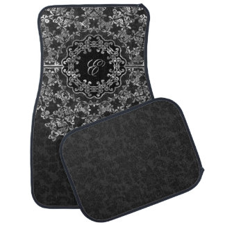 Silver Gray Floral Lace Black Damasks Monogrammed Car Mat