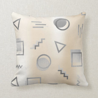Silver Gray Geometry Retro Pearly Creamy Ivory Throw Pillow