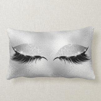 Silver Gray Glass  Beauty Glitter Makeup Lumbar Cushion