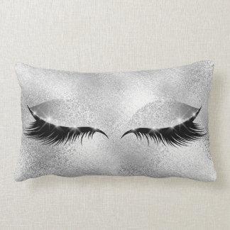 Silver Gray Glass Lashes Beauty Glitter Makeup Lumbar Cushion