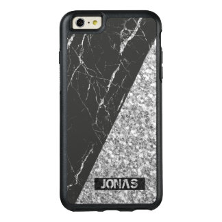 Silver Gray Glitter And Black Marble Stone OtterBox iPhone 6/6s Plus Case