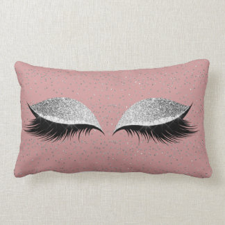 Silver Gray Glitter Black Glam Make Up Powder Pink Lumbar Cushion