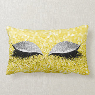 Silver Gray Glitter Black Glam Makeup Yellow Lemon Lumbar Cushion