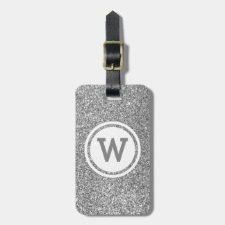 Silver Gray Glitter Circle Monogram Luggage Tag