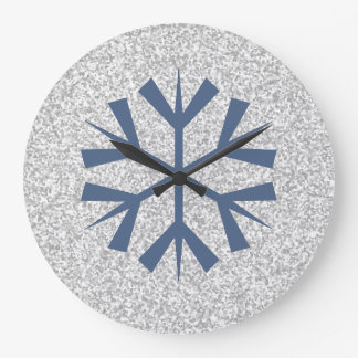 Silver Gray Glitter With Blue Snowflake Large Clock