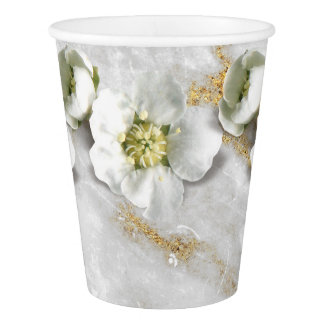 Silver Gray Gold Marble Stone Real Flower White Paper Cup