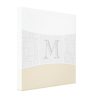 Silver/Gray/Gold Minimal Monogram Stretched Canvas Print
