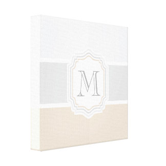 Silver/Gray/Gold Monogram Canvas Print