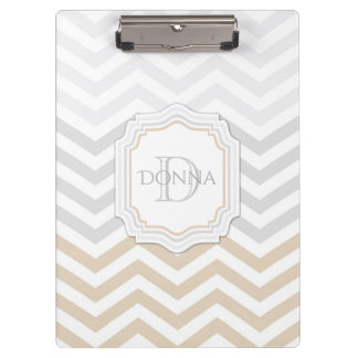 Silver Gray Gold Monogram Chevron Clipboard