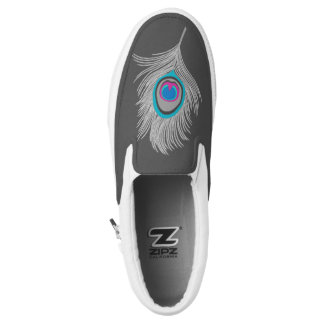 Silver Gray / Grey Peacock Feather on Graphite Slip-On Shoes