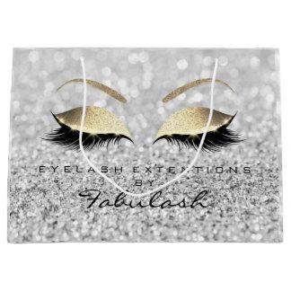 Silver Gray Lashes Blush Makeup Glitter Branding Large Gift Bag