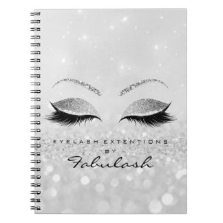 Silver Gray Lashes Glitter Eyes Makeup Beauty2 Spiral Notebook
