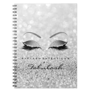 Silver Gray Lashes Glitter Eyes Makeup Beauty Notebooks