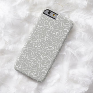 Silver Gray Leaf Pattern iPhone 6 case Barely There iPhone 6 Case