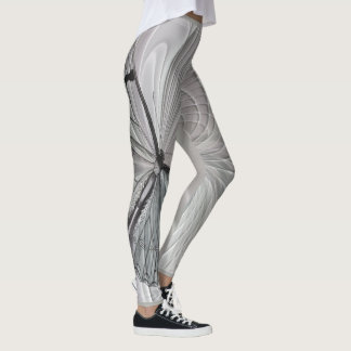 Silver Gray Leggings With Butterfly Pattern