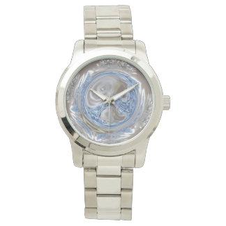 Silver Gray Light Blue Geometric Circle Art Watch