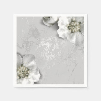 Silver Gray Marble Metallic Blush White Flower Paper Napkin