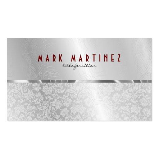 Silver Gray Metallic Design & Damasks- Monogramed Business Cards