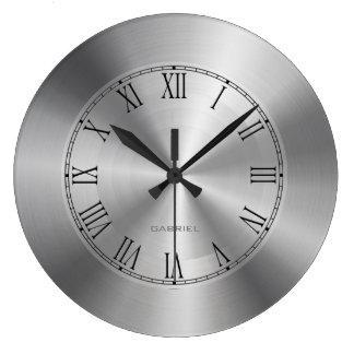 Silver Gray Metallic Design Stainless-Steel Look 4 Large Clock