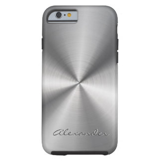 Silver Gray Metallic Design Stainless Steel Look Tough iPhone 6 Case
