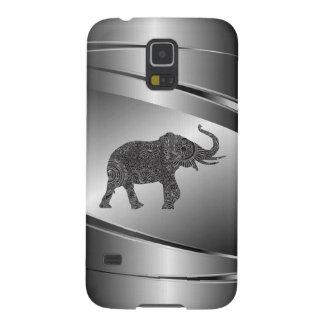 Silver Gray Metallic Floral Elephant Galaxy S5 Case