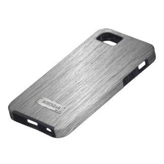 Silver Gray Metallic Look Brushed Steel iPhone 5 Cases