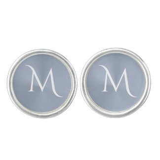 Silver Gray Metallic Monogram Cufflinks