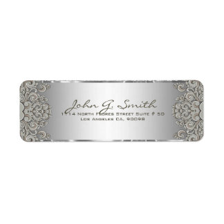 Silver Gray Metallic Pattern Floral Swirls Return Address Label