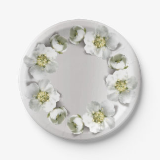 Silver Gray Metallic Pearly Real Floral Wreath Paper Plate