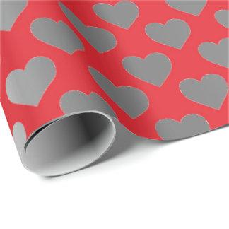 Silver Gray Metallic Wine Red Hearts Confetti Wrapping Paper