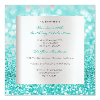 Silver Gray Minimal Birthday Tiffany Ocean Glitter Card