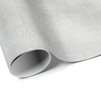Silver Gray Minimal Linen Textile Burlap Canva Wrapping Paper
