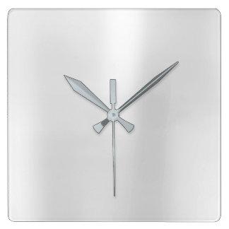 Silver Gray Minimal Monochrom Metallic Steel Square Wall Clock