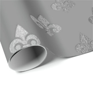 Silver Gray Monochromatic Metallic Fleur-de-lis Wrapping Paper