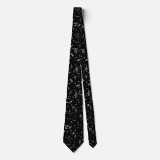 Silver Gray Musical Notes on Black Tie