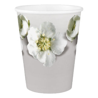 Silver Gray Ombre Metallic Flower White Jasmine Paper Cup