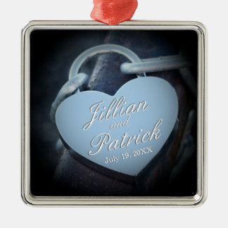 Silver Gray Padlock Chain Link Lovers Metal Ornament