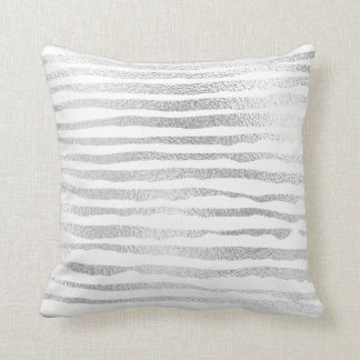 Silver Gray Painted Metallic Stripes Lines White Cushion