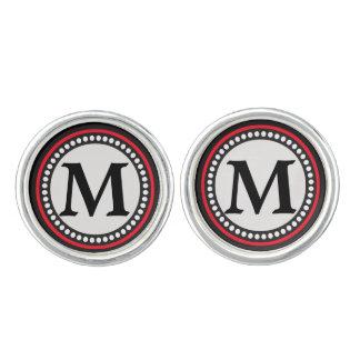 Silver Gray Red Black Monogram Cufflinks