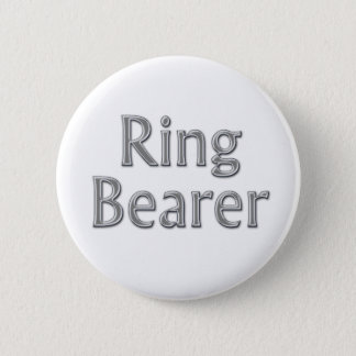 Silver Gray Ring Bearer Wedding Button