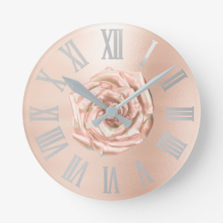 Silver Gray Rose Gold Copper Metallic Roman Numers Round Clock