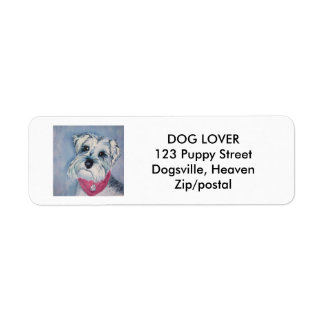 SILVER GRAY SCHNAUZER RETURN ADDRESS LABEL