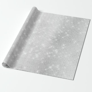 Silver Gray Sparkly Monochromatic Urban Light Whit Wrapping Paper